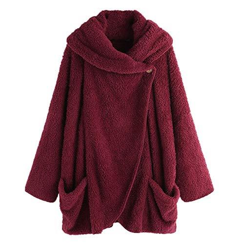 - Womens Winter Coats ILUCI Women's Fleece Long Sleeve Button Down Flannel Shirt Hooded Blouse Cardigan