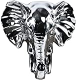Urban Trends Ceramic Elephant Head Wall Decor Polished Chrome Finish, Silver