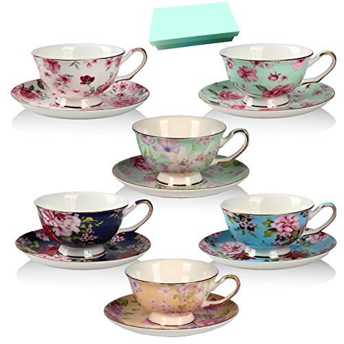 Tea Cup And Saucer Set Of 6 Floral Tea Cups 8 Oz Bone
