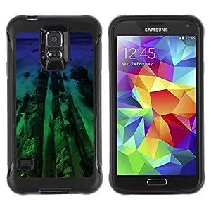 Suave TPU GEL Carcasa Funda Silicona Blando Estuche Caso de protección (para) Samsung Galaxy S5 V / CECELL Phone case / / Neon Beach Wood /
