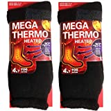 USBingoshop 2 Pairs Men's Heat Thick Insulated Wool Winter Thermal Socks 10-13 (2PK-HS2-Black)