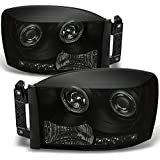 Dodge Ram Pickup Truck Black Smoke Dual Halo Ring LED Projector Headlights Left + Right Replacement