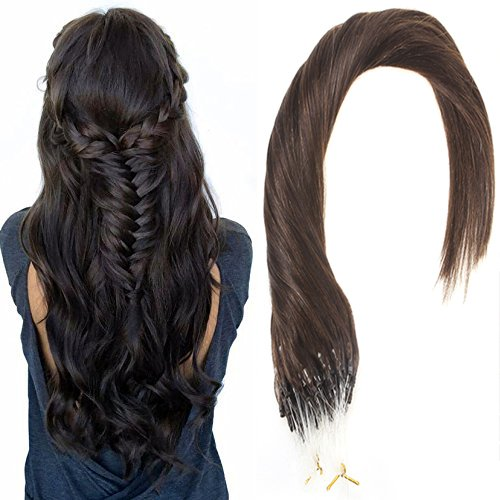 Sunny Loop Micro Ring Remy Human Hair Extensions 50Strands Full Head Darkest Brown (Col #2) Hair Extensions 14 Inches - Shipping Costs International Usps