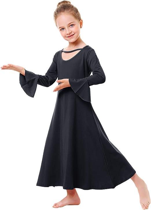 US Kids Girl Praise Dress Child Liturgical Dance Dress Long Sleeve Ruffled Dress