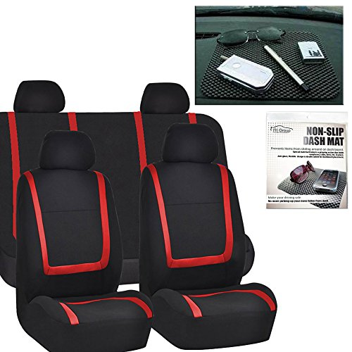 FH Group FH-FB032114 Unique Flat Cloth Car Seat Covers, Red/Black Color with FH1002 Non-slip Black Dash Grip Pad Mat- Fit Most Car, Truck, Suv, or Van