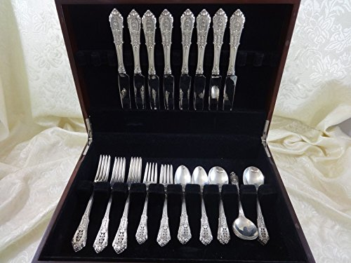 ROSE POINT BY WALLACE STERLING SILVER DINNER SIZE FLATWARE SET SERVICE 40 PIECES