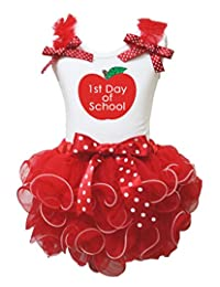 Petitebella 1st Day Of School White Shirt Red White Dots Petal Skirt Nb-8y