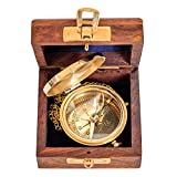 Compass with wooden box maritim ship decoration navigation brass antique style