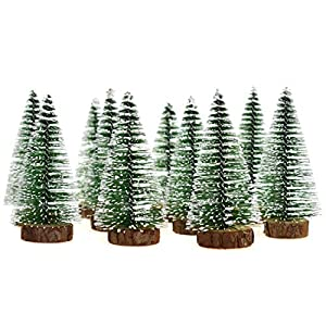 Hagao Mini Snow Frost Trees Mini Christmas Tree Plastic Winter Snow Ornaments Tabletop Trees for Holiday Party DIY Room Decor Home Table Top Christmas Decoration Diorama Models 100mm 10 Pcs 30