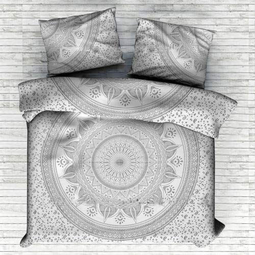 GOPALI CRAFT Star Ombre Mandala Duvet Cover Double Size Comforter Doona Cover Bedding Set with Two Pillow Set