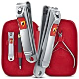 Ennbell Nail Clippers 4pcs Set - Fingernail and Toenail 2 Stainless Steel - Sharpest Cuticle Nippers and Tweezers Professional Manicure Men and Women Care Kit in Red Quality Leather Travel Case