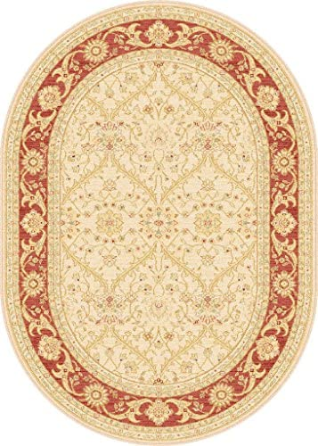 Antique Treasure Traditional Ivory Center Red Border Oval Area Rug 5 3 x7 3