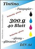40 feuilles de Papier Photo Double-face A4 300 g/m ²-Double-Face brillant à séchage rapide, résistant à l'eau Blanc brillant Très haute brillance pour imprimante jet d'encre