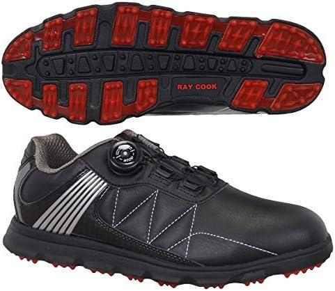 Raycookゴルフシューズ ダイヤルatop式メンズゴルフシューズ メンズ RCGS1800 ブラック 26.0 サイズ:24.5~27.0㎝(0.5㎝刻み) 甲材:人工皮革