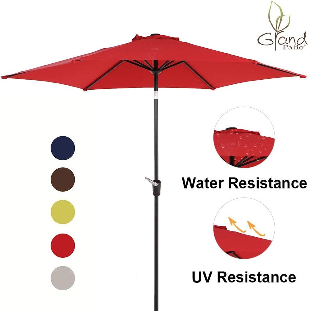 Grand patio 9 FT Aluminum Patio Umbrella, UV Protected Outdoor Umbrella with Push Button Tilt and Crank, Red
