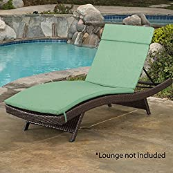 Christopher Knight Home 626 Salem Chaise Outdoor Jungle Green Water Resistant Lounge Cushion