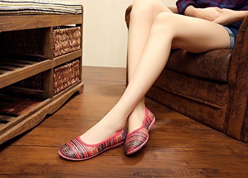 Insun Damen Bohemian Slipper Halbschuhe Schuhe Rot