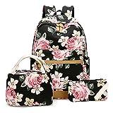 BLUBOON School Backpack for Girls Canvas Laptop Backpack Teens Bookbag Set Lunch Bag Purse (Flower Black - 3pcs)
