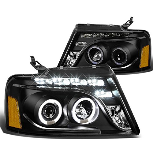 For 04-08 Ford F150 11th Gen Black Housing Amber Corner Dual Halo Projector LED Headlight