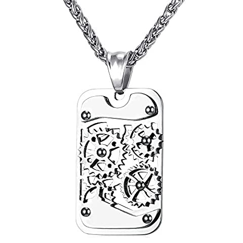U7 Men Stainless Steel Steampunk Jewelry Cool Gear Pendant Dog Tag Necklace (Necklace For Men Cool)