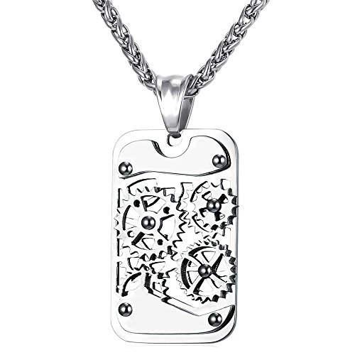 U7 Men Stainless Steel Steampunk Jewelry Cool Gear Pendant Dog Tag Necklace, Free Chain 22