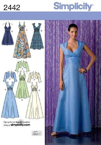 Bolero Sewing Pattern - Simplicity Designs by Karen Z Pattern 2442 Misses Dress in 3 Lengths with Bodice Variations and Bolero Sizes 6-8-10-12-14