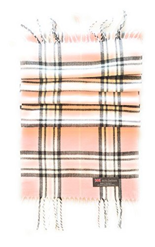 100% CASHMERE SCARF - PINK & BLACK PLAID - MADE IN SCOTLAND (Pink & Black Plaid) by 100% FROM SCOTLAND