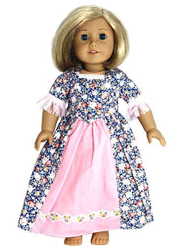 BUYS BY BELLA Blue and Pink Historical Dress for 18 Inch Dolls Like American Girl