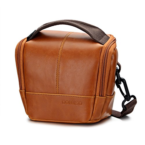 DOMISO Digital Camera Case Waterproof Compact System Protection Cross Body Bag Travel Camera Pouch for SONY / CANON / OLYMPUS / NIKON, Brown