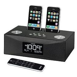 iP88GC - Dual Dock Triple Alarm Clock Radio for iPhone/iPod