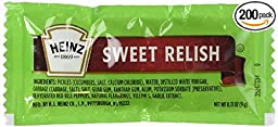 Heinz Sweet Relish, 0.31-Ounce Single Serve Packages (Pack of 200)