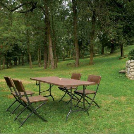 Reihe von Tische und 4sillass Klappstuhl in Rattan Schokolade kpl1032002