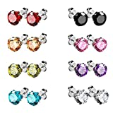 UHIBROS Stainless Steel Stud Earrings Cubic Zirconia Multicolor Set Sterling Sliver Pated 8