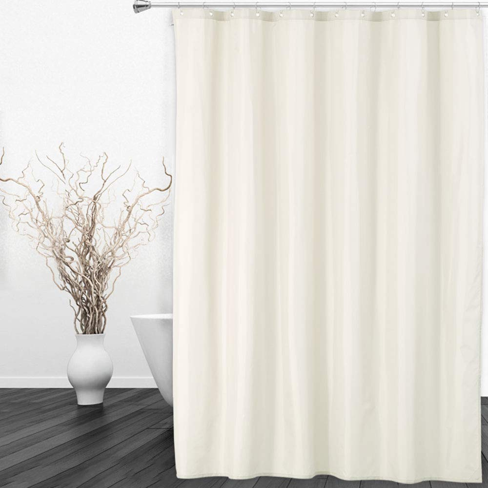 CAROMIO Fabric Shower Curtain or Liner, Hotel Quality Waterproof Fabric Shower Curtain Liner for Bathroom Rustproof Metal Grommets, 72 inch x 72 inch, Bone
