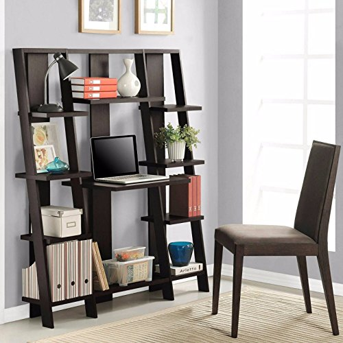 Office Computer Desk Shelf Bookcase Leaning Storage Furniture Table Solid Wood by On-anongstore