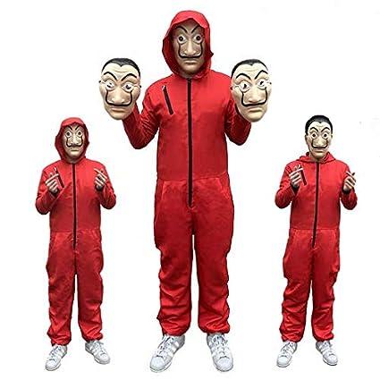 Jasmine7 Halloween Cosplay Mono Rojo con máscara Set La Casa ...