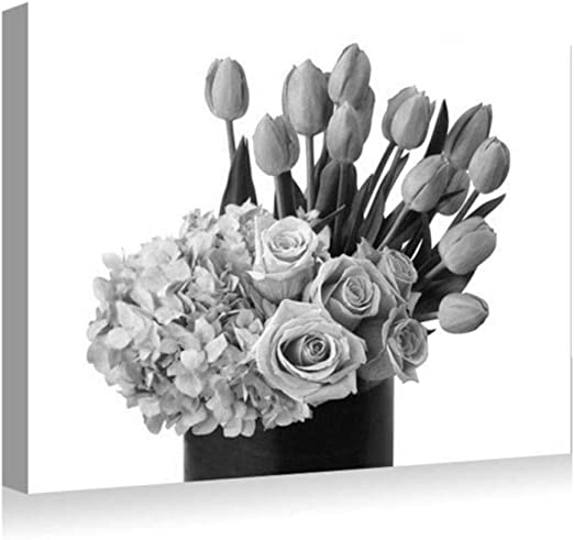 White Tulips On A Black Background Canvas Wall Art prints high quality