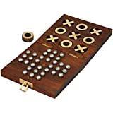 Wooden Handcrafted Tic Tac Toe Solitaire Board Game for Adult Kids 5 by 5 inch