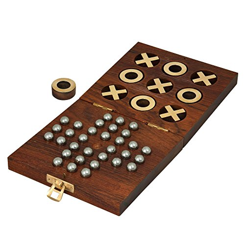 Wooden Handcrafted Tic Tac Toe Solitaire Board Game for Adult Kids 5 by 5 -