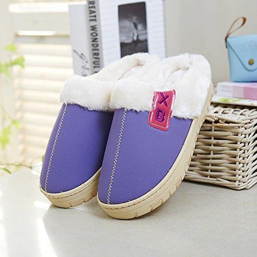 Y-Hui impermeable de algodón de hombres zapatillas, bolsas de baja y el invierno interiores domésticos inferior grueso caliente hembra par Home zapatillas Violet