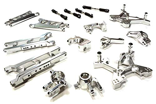 Integy RC Model Hop-ups C26319SILVER Billet Machined T3 Suspension Kit for 1/10 Stampede 4X4 & Slash 4X4 (Non-LCG) ()