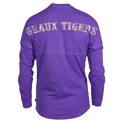 Louisiana State University Jersey - Official NCAA Louisiana State University Tigers LSU GEAUX Tiger Mike Women's Long Sleeve Spirit Wear Jersey T-Shirt