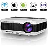 Home Theater Wireless HDMI Miracast Airplay Projector LED 3600 Lumen Indoor Outdoor Movie Game Smart LCD Android Wifi Projector WXGA HD 1080P USB AV VGA for iPad iPhone TV Laptop PC DVD PS4 XBOX