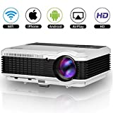 WXGA WiFi LCD Video Projector Full HD 1080P 3600 Lumens HDMI Input Airplay Miracast Wireless for iPad Smartphone Laptop PC DVD Player PlayStation, LED Home Cinema Projector Outdoor Theater Proyectors