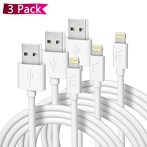 Enther (6 feet) USB to Lightning Cable MFI Apple Certified 3 Pack Charging Cord for Fast Data Transfer and Charge - Thick/White(2 Meter)