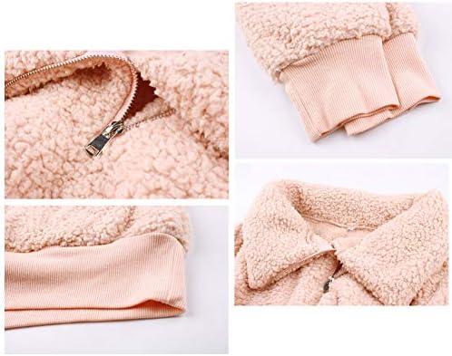 YUGNHAJ Manteau Fuzzy Teddy pour Femmes, Casual Sweat-Shirt épais à col Montant avec Fermeture à glissière,Rouge,XXL