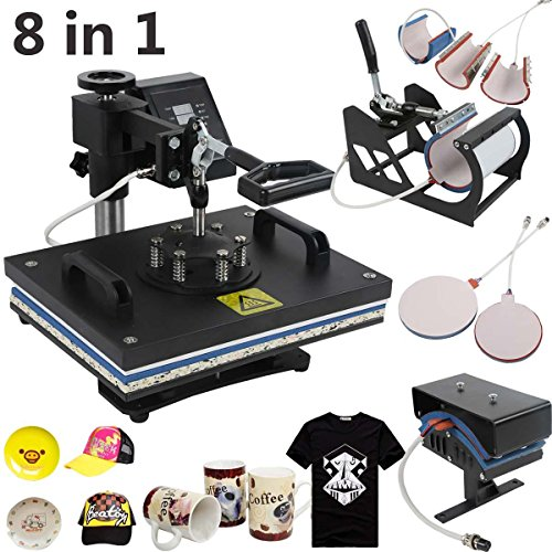 TC-Home Heat Press 8 in 1 Multifunction Sublimation Heat Press Machine Digital Transfer Sublimation T-Shirt Mug Hat Plate Cap (Heat Press Machine, 8 IN 1) by TC-Home