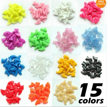 20pcs Soft Pet Nail Caps For Cat Dog Claws Control Paws off&Adhesive Glue M Size