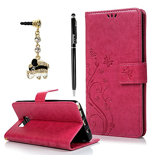 Note 5 Case,Galaxy Note 5 Case - Fashion Wallet Purse 3D Embossed Butterflies Premuim PU Leather Flip Cover Ultra Slim TPU Inner Bumper Hand Strap Magnetic Card Slots Dust Plug by Badalink - Hot Pink (Purse Case Note 3)