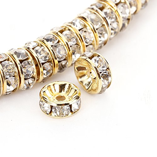 (BRCbeads 8mm Gold Plated Crystal Rondelle Spacer Beads 100pcs per bag for jewelery making(#001 Clear Crystal))